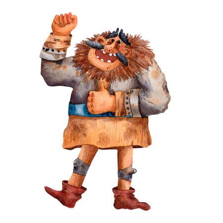 Cartoon illustration of funny viking. Portrait of big man. Old cloth, beard and helmet. Ancient scandinavian man. Cute cartoon character. Medirval viking. Traditional man portrait.
