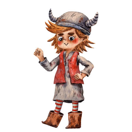 Cartoon illustration of funny viking. Boy portrait. Viking helmet. Ancient scandinavian child. Cute cartoon character. Medieval viking. Cartoon children character.