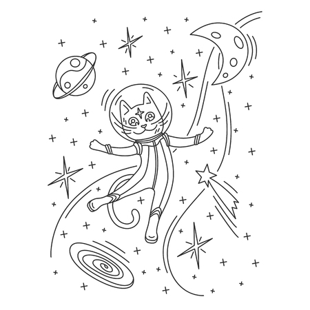 Cat astronaut in spacesuit flying in space. Outline vector illustration. Design for kids print, coloring book, t-shirt, apparel, postcards. Illustration