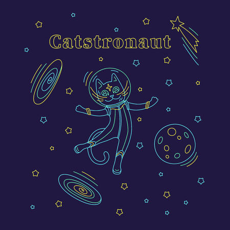 Cat astronaut in spacesuit flying in space. Outline vector illustration. Design for kids print, poster, t-shirt, apparel, postcards. Illustration