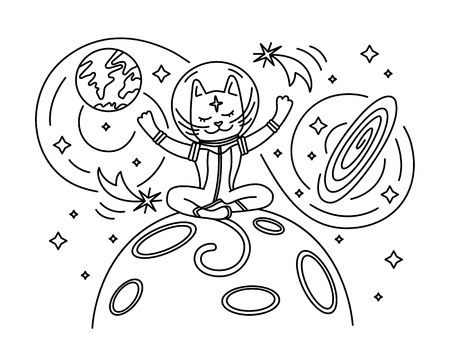 Cat astronaut sitting on the Moon. Vector Vector Illustration
