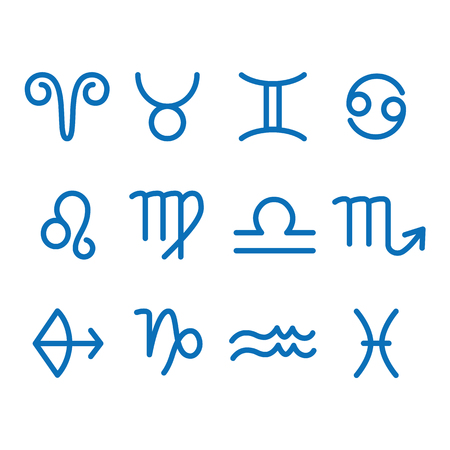 12 Zodiac sign for astrology. Outline style. Set of simple icons. Blue on white background vector
