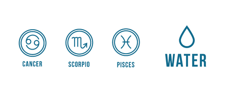3 water zodiac signs - cancer, scorpio, pisces. Round icons.