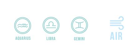 3 air zodiac signs - aquarius, libra, gemini. Round icons. Illustration