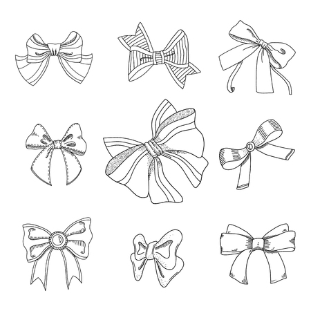 Set of different bows. Outline contour cliparts. Design elements for coloring book, invitations, greeting cards, prints. Thin line Ink sketch style drawings. Hand drawn isolated vector illustrations.