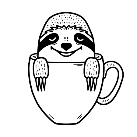Lazy hand drawn sloth face inside a coffee cup. Hand drawn, doodle style. Cute funny vector illustration for print, poster, apparel, t-shirt. Black lineart isolated on white background