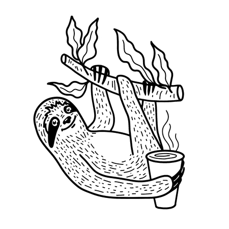 Cute sloth nahging on a tree branch with a cup of hot coffee. Hand drawn, doodle style. Funny vector illustration. Black lineart isolated on white background Illustration