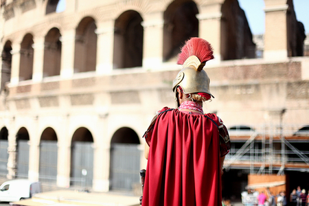colloseum: The man in the suit of the ancient Roman Stock Photo