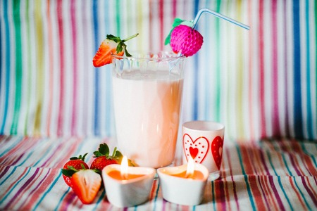 Strawberry Smoothie in Valentines day Stock Photo