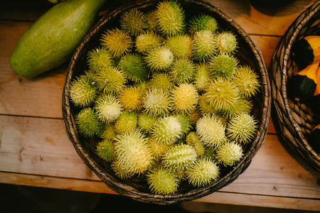 striated: Spiny cucumbers in a basket. Nature product