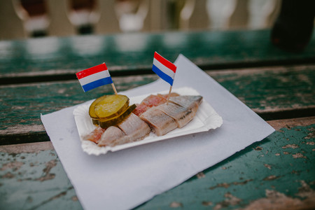 Herring with pickled cucumber. Netherlands Food
