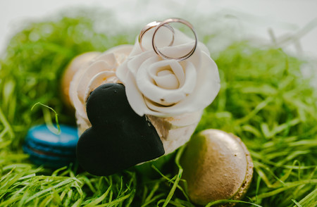 wedding rings are on the dessert. sweet moment