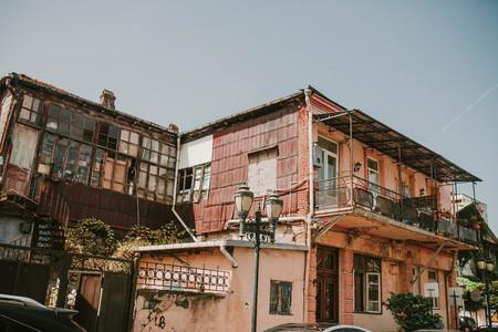 View of the old balconies, Batumi. Georgia