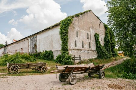 view of an old building in ivy and wooden carts, nature Stock Photo