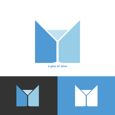 blue wine glass icon for new company