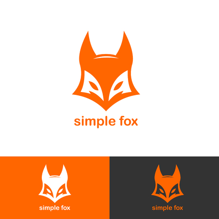 A simple fox icon logotype isolated on plain background Illustration