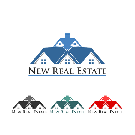 New real estate roof icon on white background.