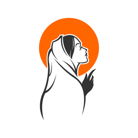 A woman with veil praying.
