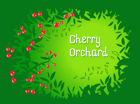 Cherry orchard background. Frame made with leaves. Vector illustration.