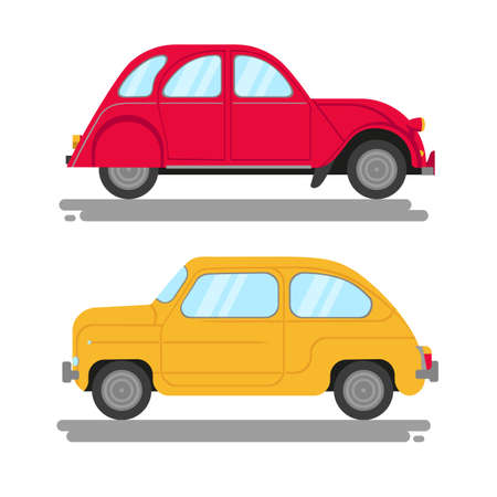 Two vintage cars. Vector flat illustration. Isolated on white. Vecteurs