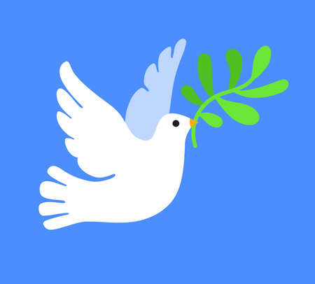 White dove in flight holding an olive branch. Concept of peace. Vector illustration on blue background.