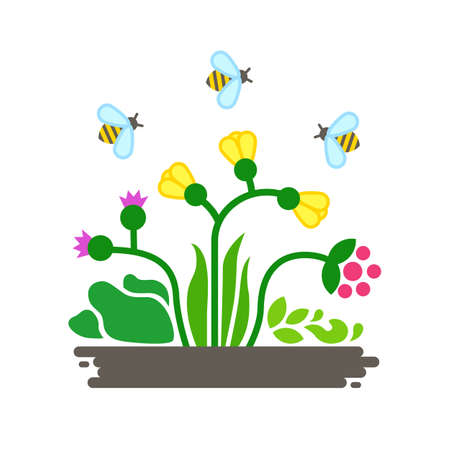 Wild flowers and bees. Small ecosystem. Vector illustration isolated on white.