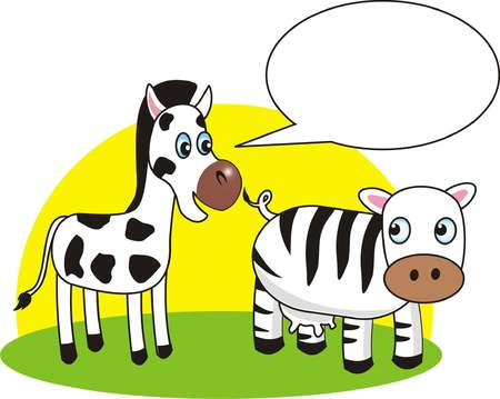 Different stripes of cow and zebra