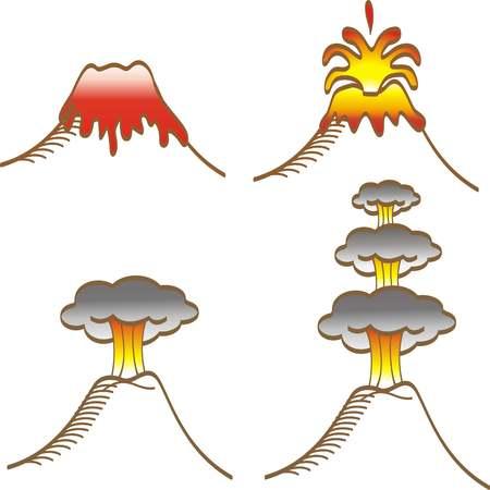 tipos de erupciones volcánicas boceto dibujado a mano