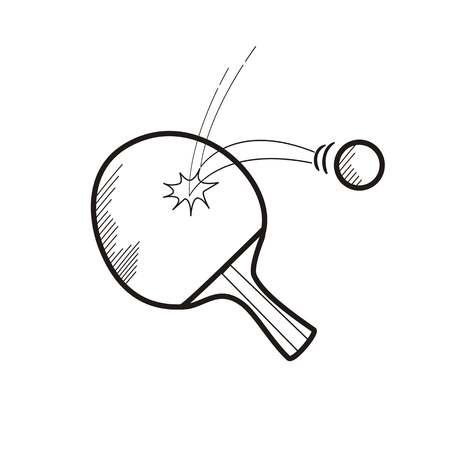 table tennis hand drawn sketch.