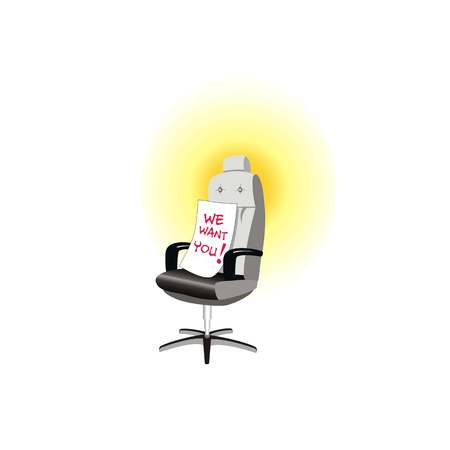 We want you vacant concept. Office empty chair. Symbol of recruiting to work. Hiring staff. Vector illustration Illustration