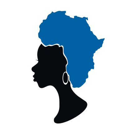 african woman with map on her hair vector illustartion