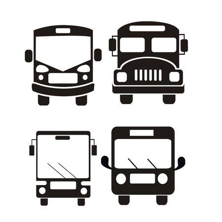 autobus ikona zestaw ilustracji wektorowych