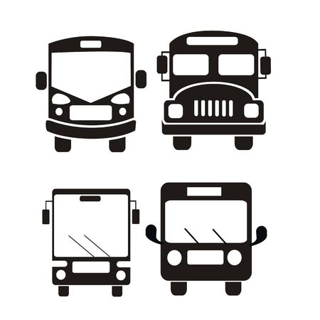 jeu d'icônes de bus illustration vectorielle