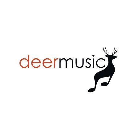 deer music logo design concept Ilustração