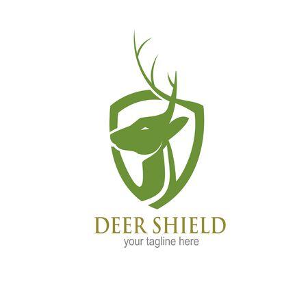 deer shield logo design concept