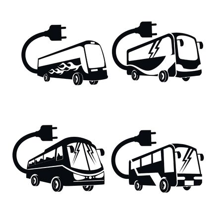 electrical bus icon set