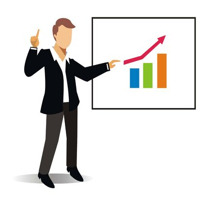 explain company plan icon. presentation with diagram vector