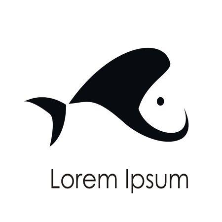 fish logo design negative space flat icon vector