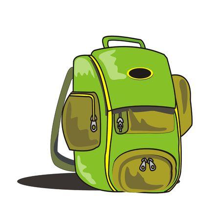 green bag school vector illustration