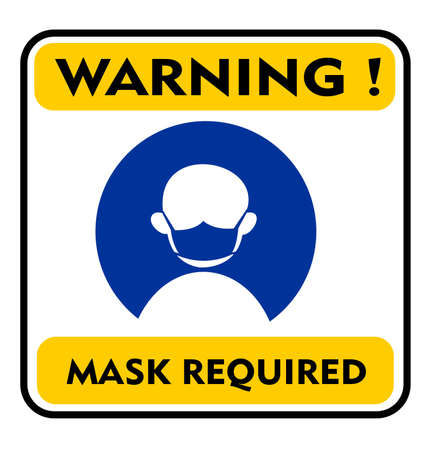 mask required warning sign vector. wear mask symbol