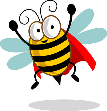 cute super bee cartoon vector. clip art bee stock vector illustration