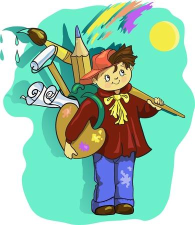 illustration of cartoon boy artist Vector Illustration
