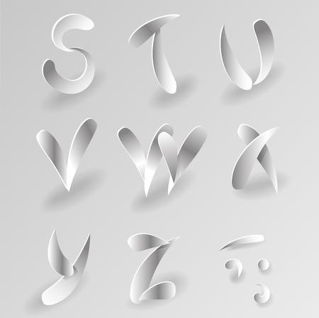 papier a lettre: Vector Graphic Livre blanc Lettre Alphabet Set Illustration