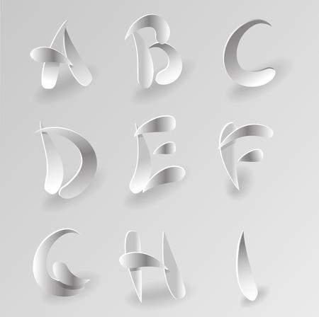 papier a lettre: Vector Livre blanc Lettre Graphic Alphabet Set