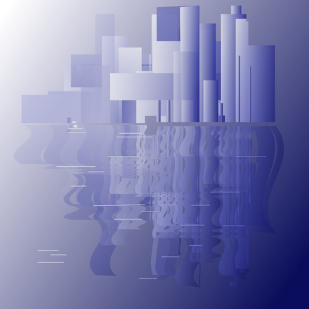 sity: sity on water reflection abstract blue background Illustration