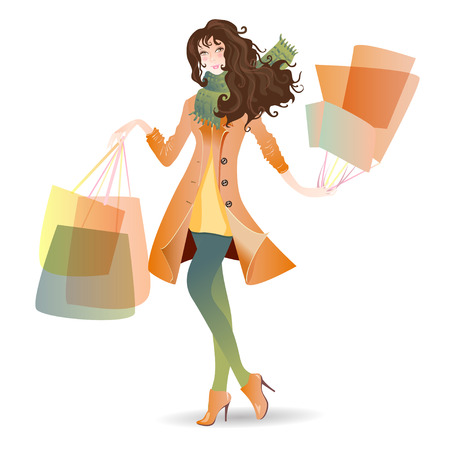 Vector illustration girl in spring Shopping Day Vector