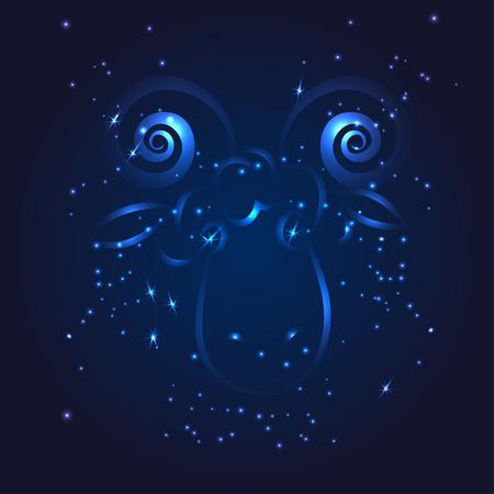 aries zodiac: Aries zodiac glitter star vector illustration Illustration