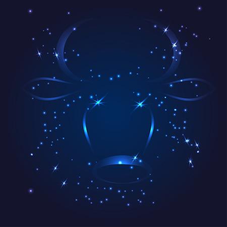 おうし座干支キラキラ星ベクトル図  イラスト・ベクター素材