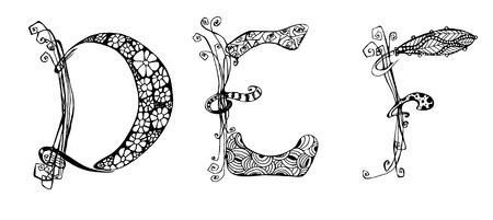 def: Vector set with doodle hand written DEF letters, ornamental font Illustration