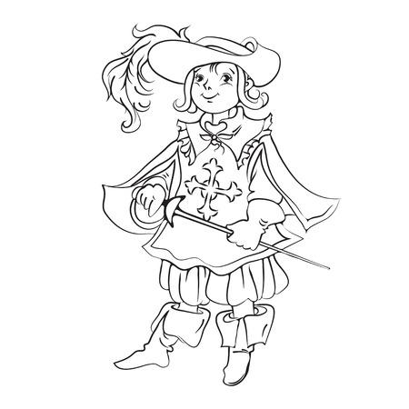 mosquetero: Muchacho vestido como mosquetero para fondo de Navidad
